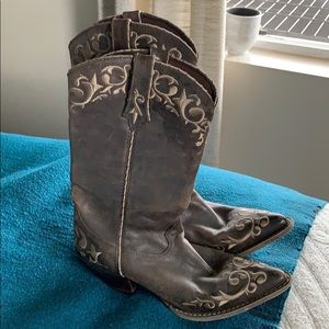Brown embroidered Durango cowboy boots